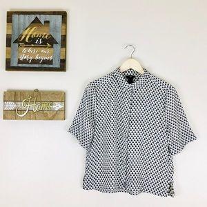 Retro White & Black Polka Dot Short Sleeve Blouse